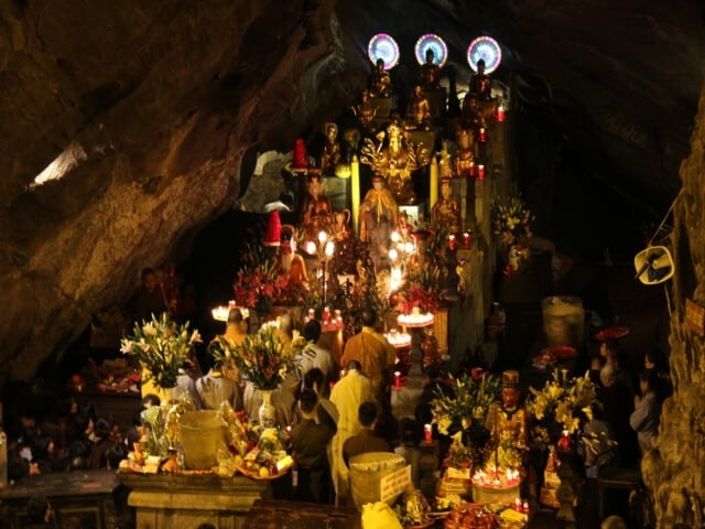 Inside the Huong Tich Grotto