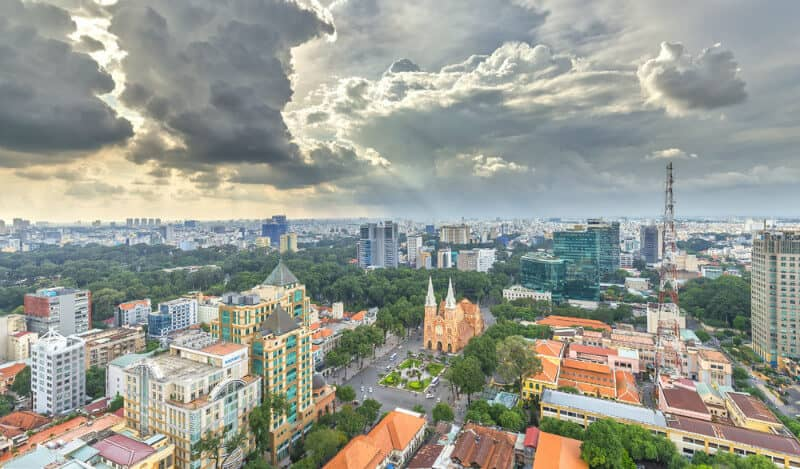Notre Dame Cathedral Ho Chi Minh City Aerial View