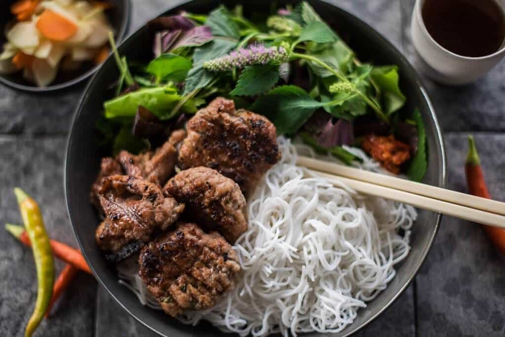 Bun Cha Pork Meatballs and Rice Noodles